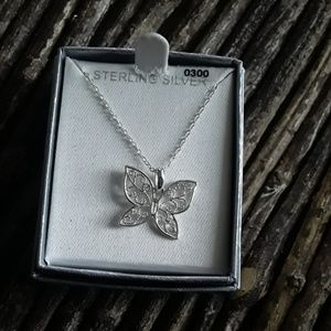 Sterling silver filigree butterfly necklace